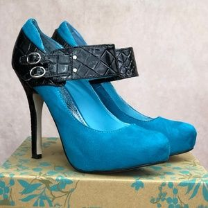 Bamboo Blue Suede Pumps